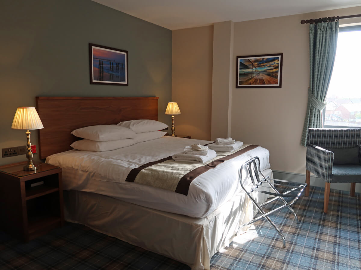 The double bed in the accessible room at The Commissioners Quay Inn Blyth Northumberland.