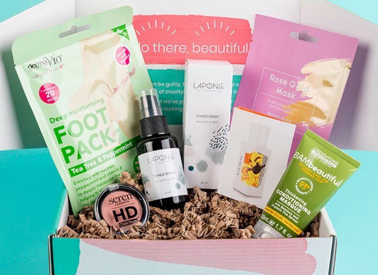TheVeganKind Beauty Box full of six products.