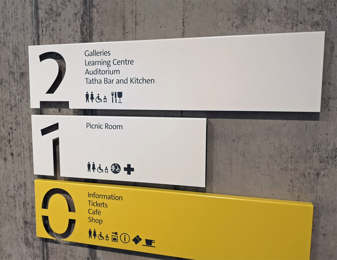 A close up of the signage for what is on each level in the V&A Dundee