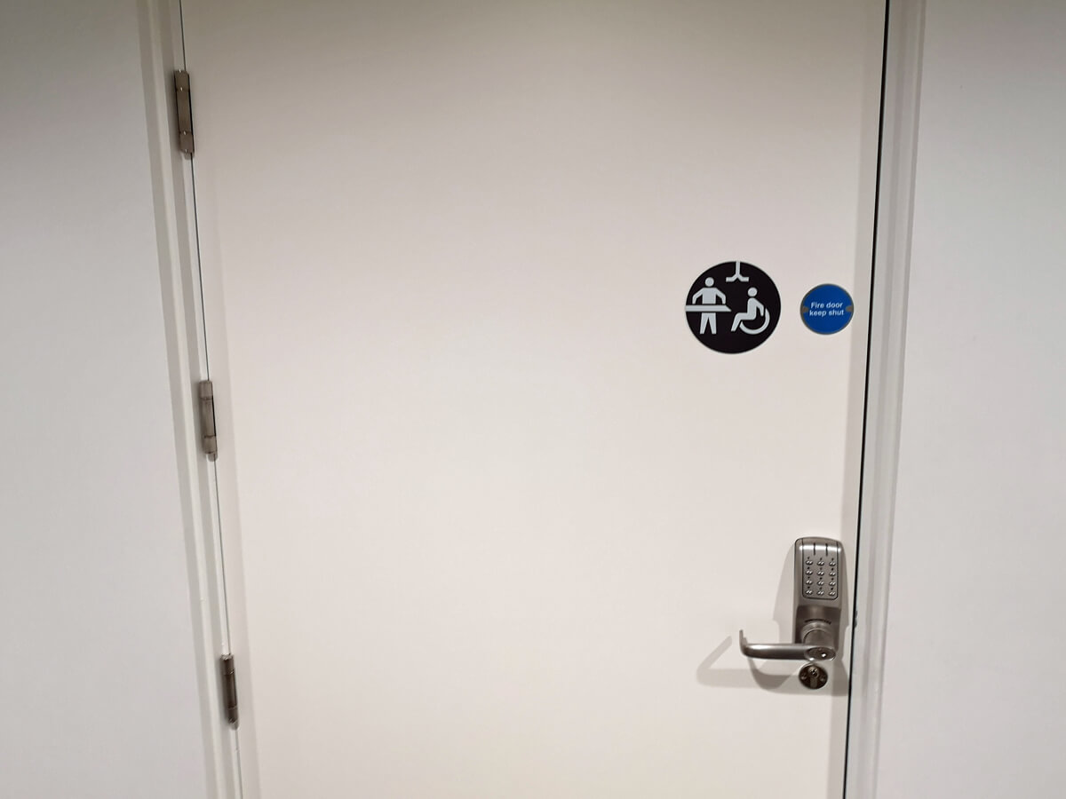V&A Dundee Changing Places locked code door.