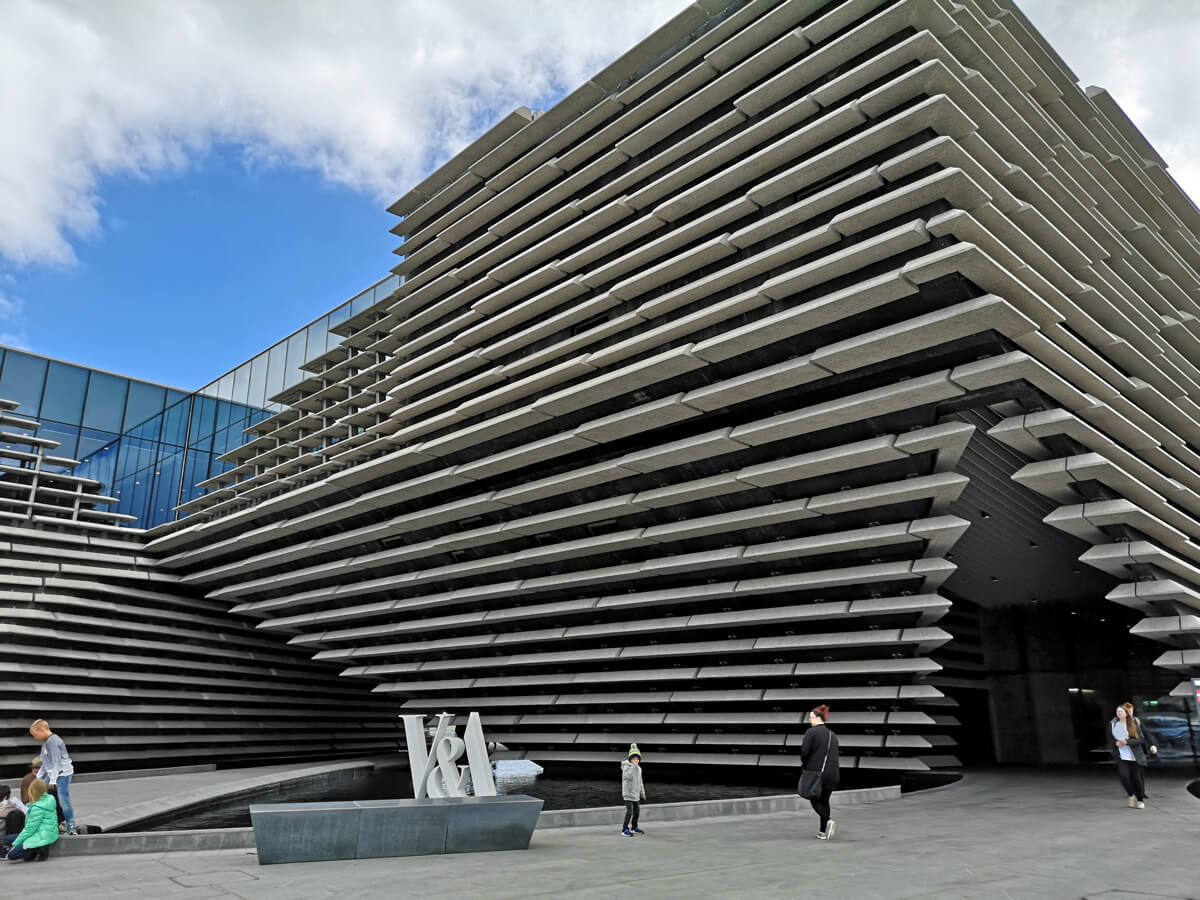 A close up of the V&A Dundee building and entrance.