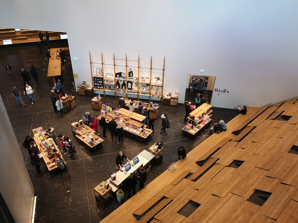 Looking down on V&A Dundee gift shop from level 2.