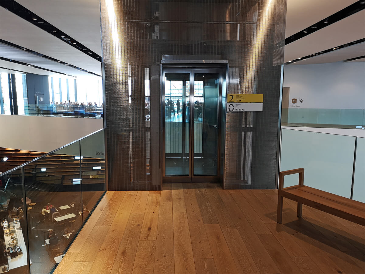 The lift on level 2 in the V&A Dundee