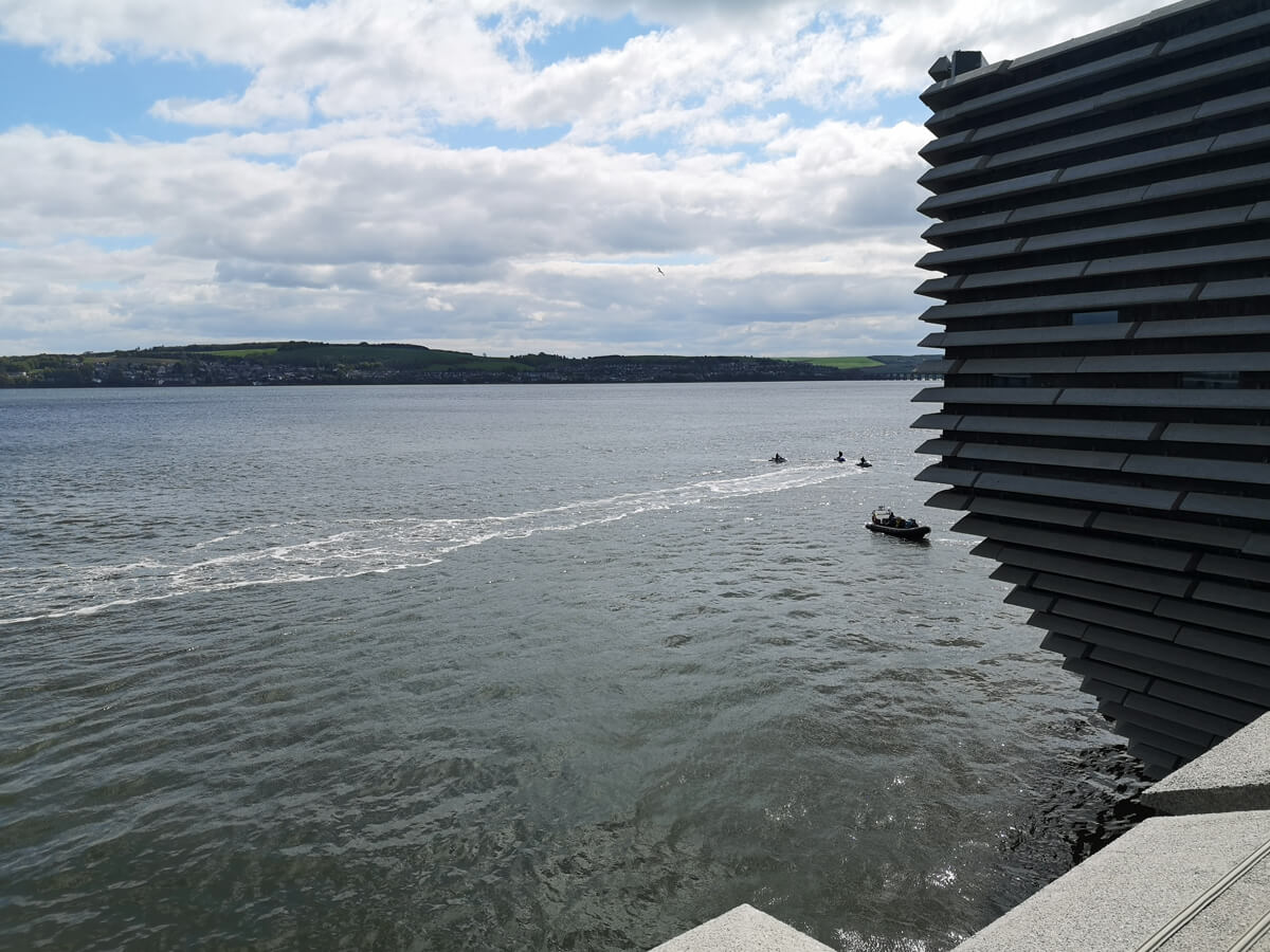 The view looking over the water from the viewing terrace.