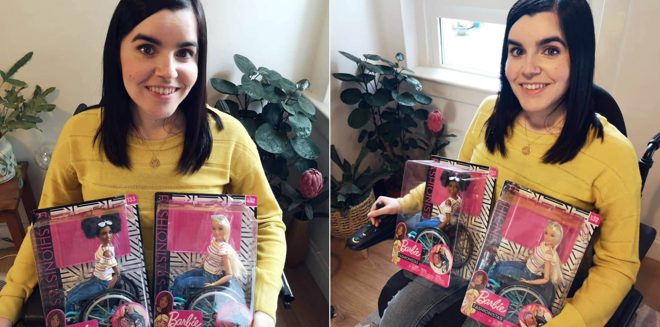 Emma proudly holding two boxes containing Wheelchair Barbies.