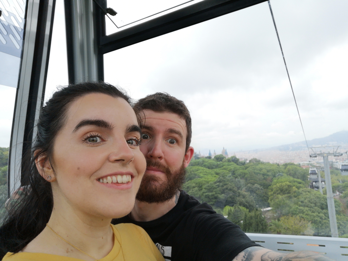 Emma and Allan inside the Montjuïc Cable Car
