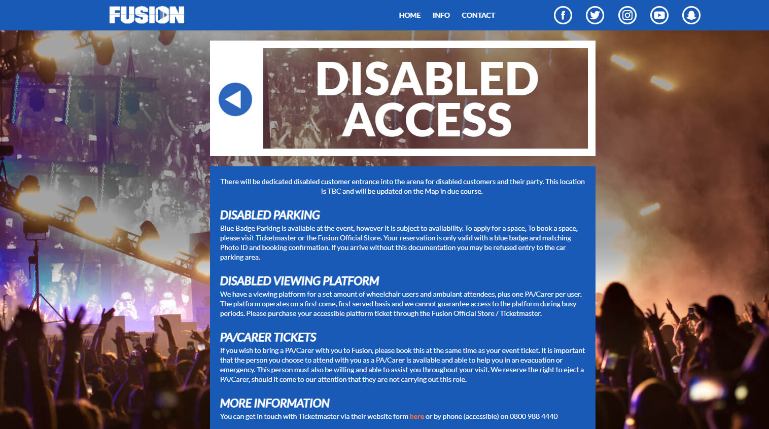 A screenshot of the disabled access information on Fusion Festival website.