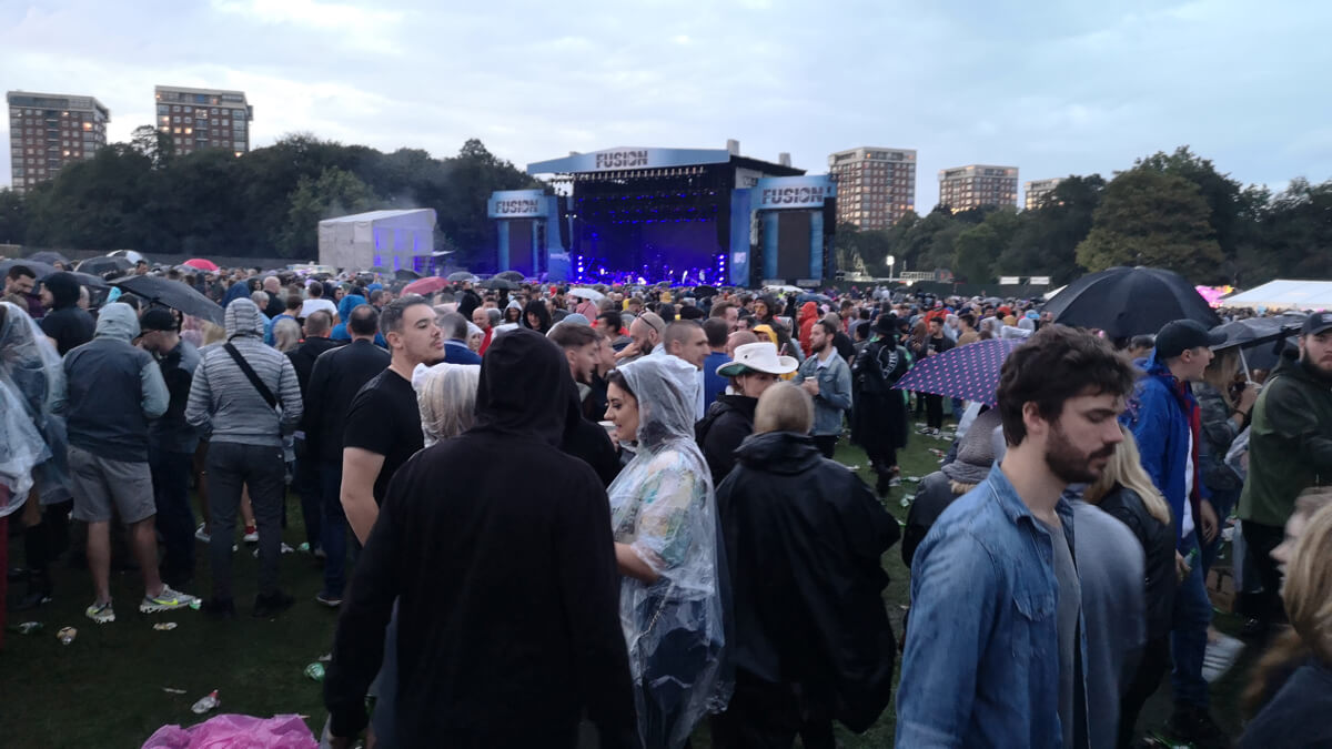 A view of the thousands of people in the crowd at Fusion Festival.