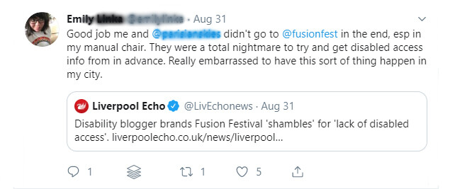 A screenshot of someone complaining about the nightmare of Fusion Festival.
