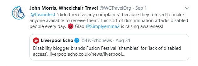 A screenshot of Wheelchair Travel retweeting the Liverpool Echo's article about our experience at Fusion Festival.