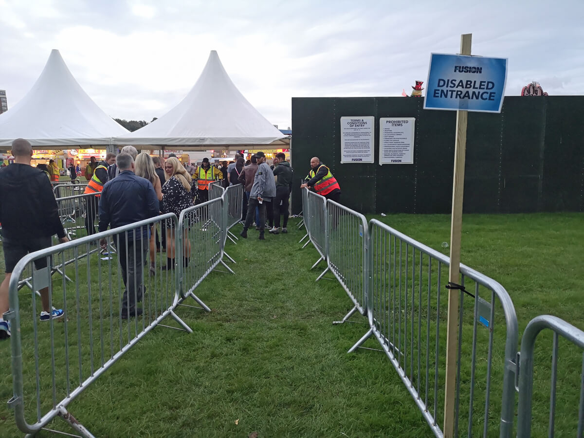 A view looking down the disabled entrance lane at Fusion Festival.