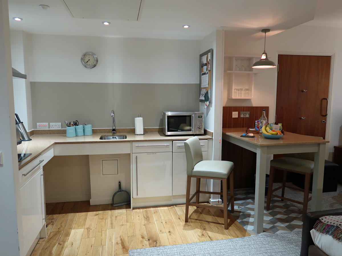 Staybridge Suites Liverpool hotel room kitchen.