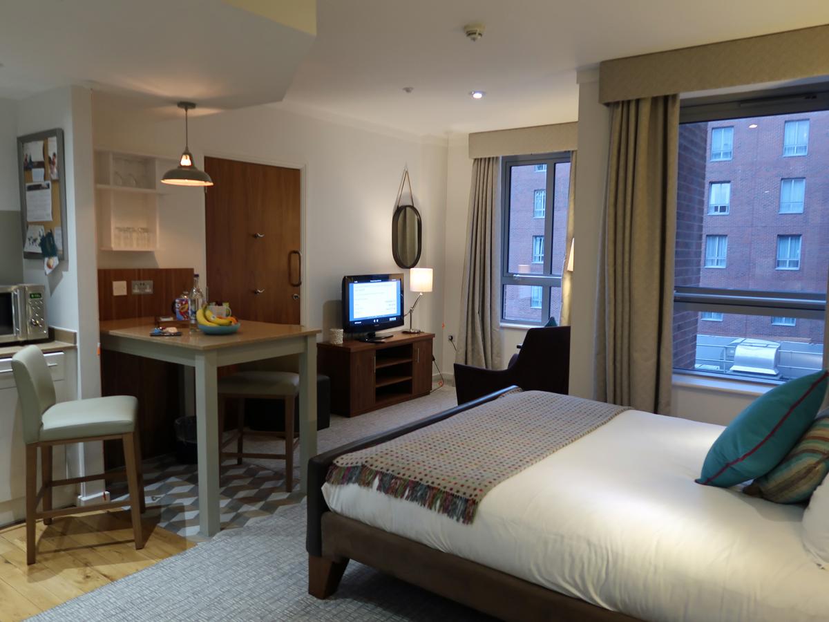Staybridge Suites Liverpool hotel living area.