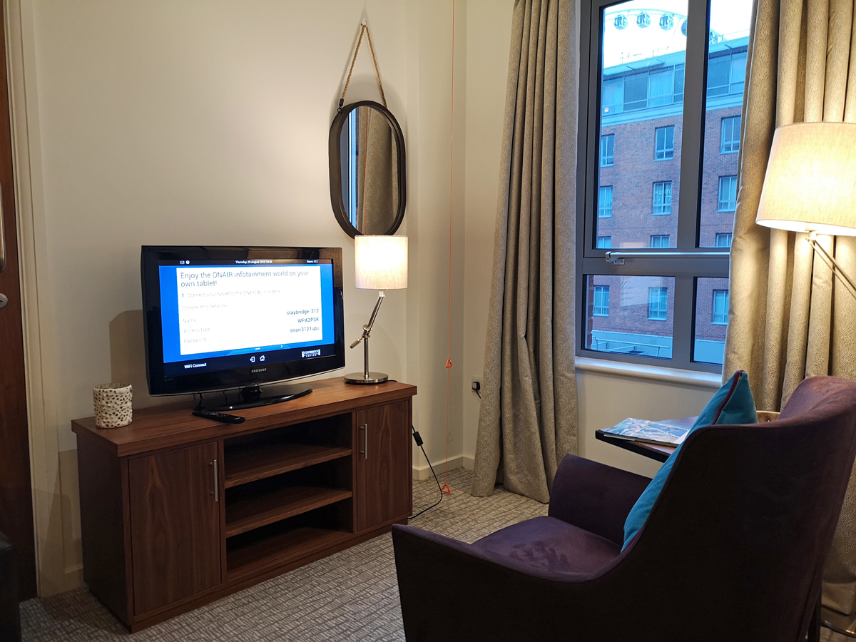Staybridge Suites Liverpool hotel living area.