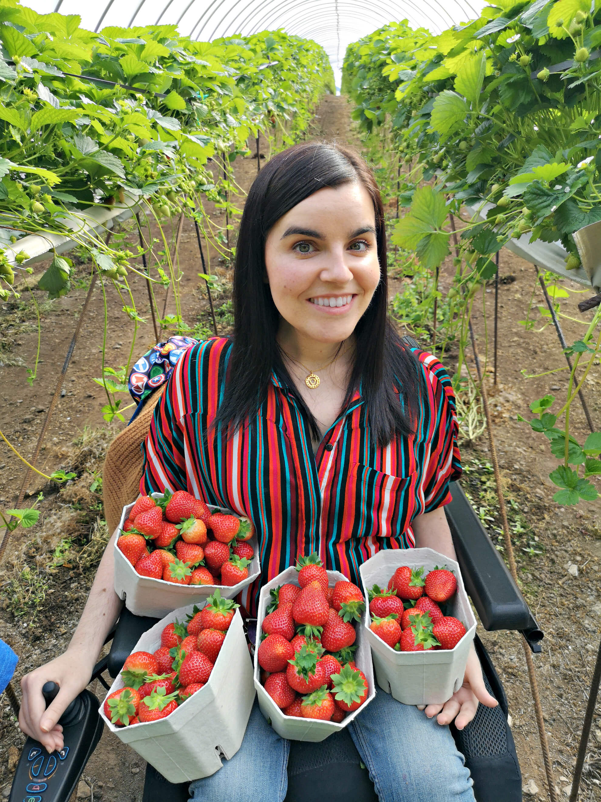 Emma is a fruit tunnel holding four tubs of hand picked strawberries.