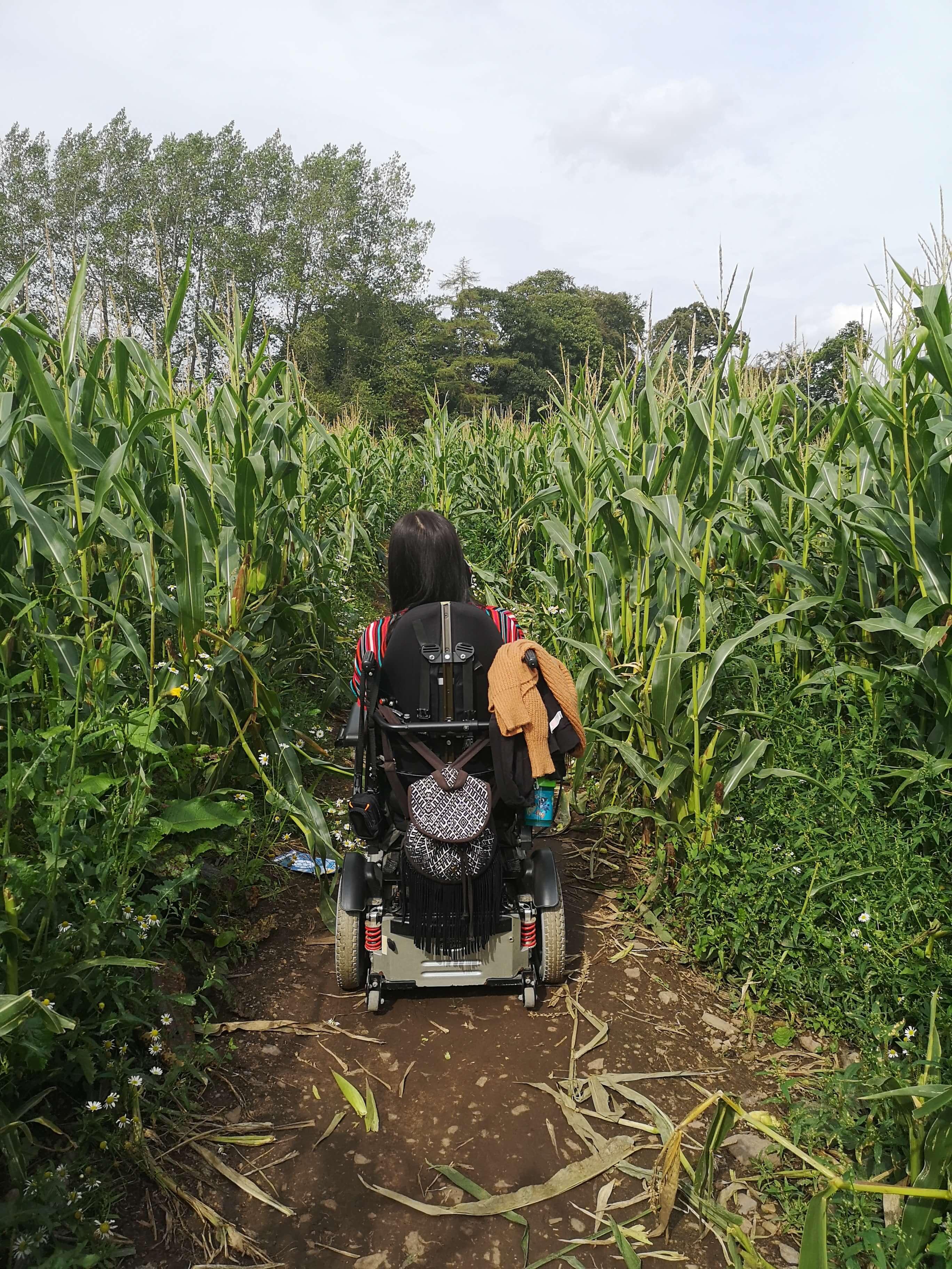 Emma driving her wheelchair through a corn maze.