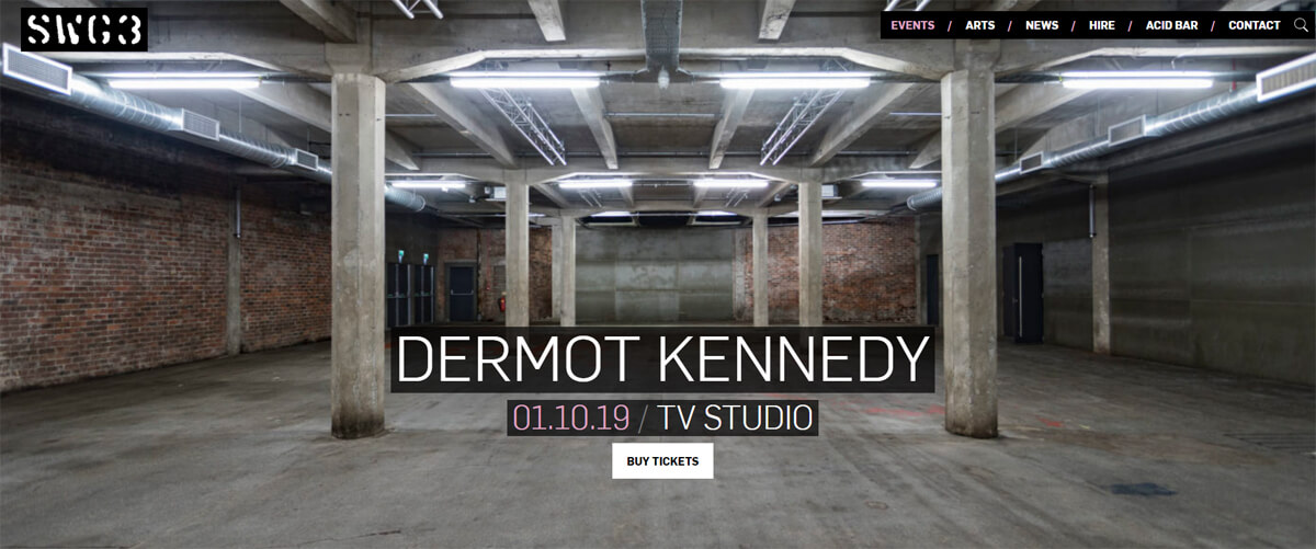 "A screenshot from the SWG3 website with ""Dermot Kennedy, 01.10.19 / TV Studio""."
