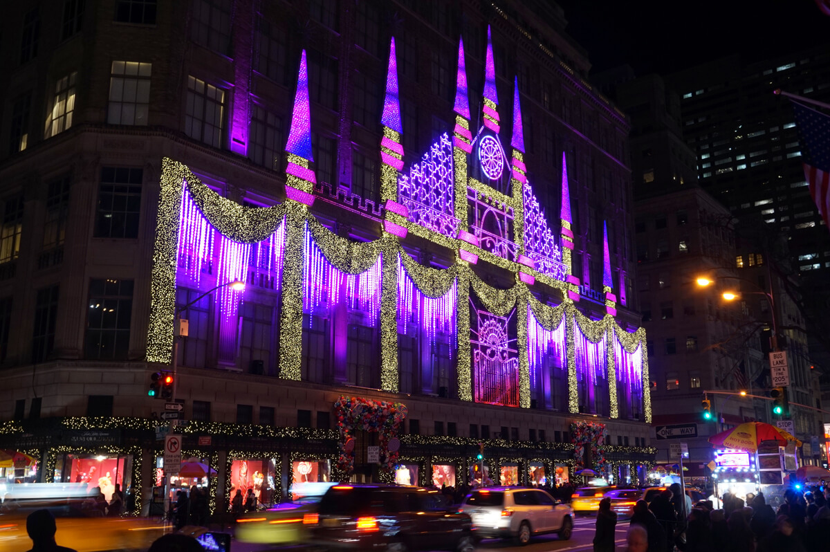 Saks 5th Avenue store decorated for Christmas.