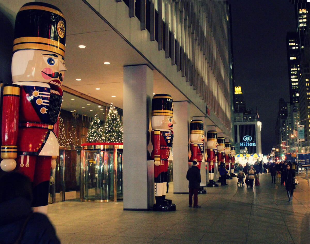 Giant Toy Soldiers standing outside a hotel in New York City at Christmas.