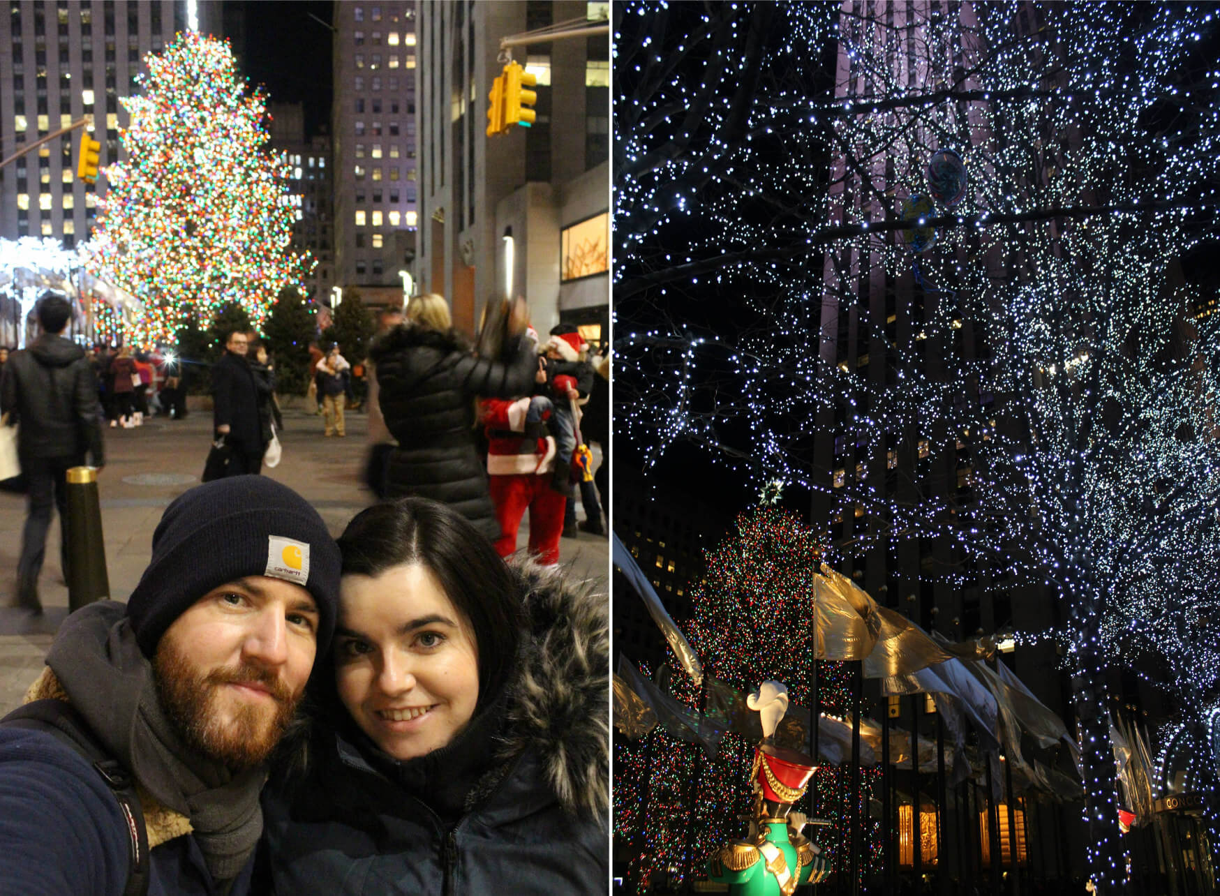 Emma and Allan taking a selfie at theRockefeller Centre Christmas tree