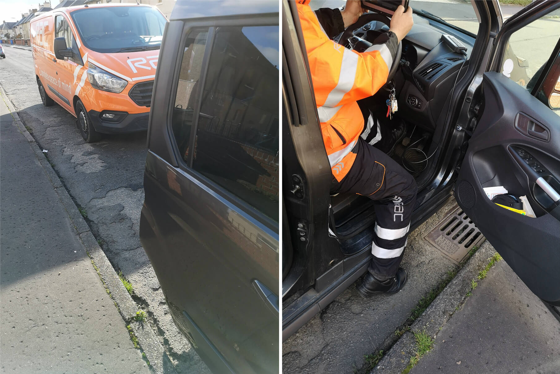 A photo collage showing two images. The one of the left is the back of Emma's wheelchair accessible car and the RAC van parked behind it. The one of the right is the RAC mechanic sitting in the drivers seat of Emma's car.