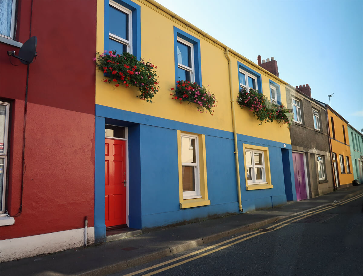 A row of colourful homes in Aberaeron.