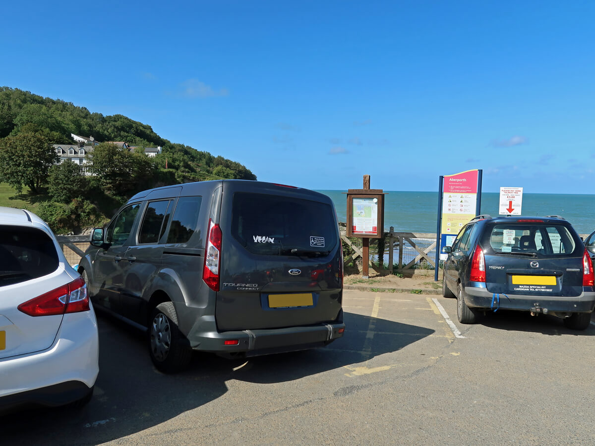 Emma's wheelchair accessible car parked in the Aberporth Beach car park in a disabled bay.