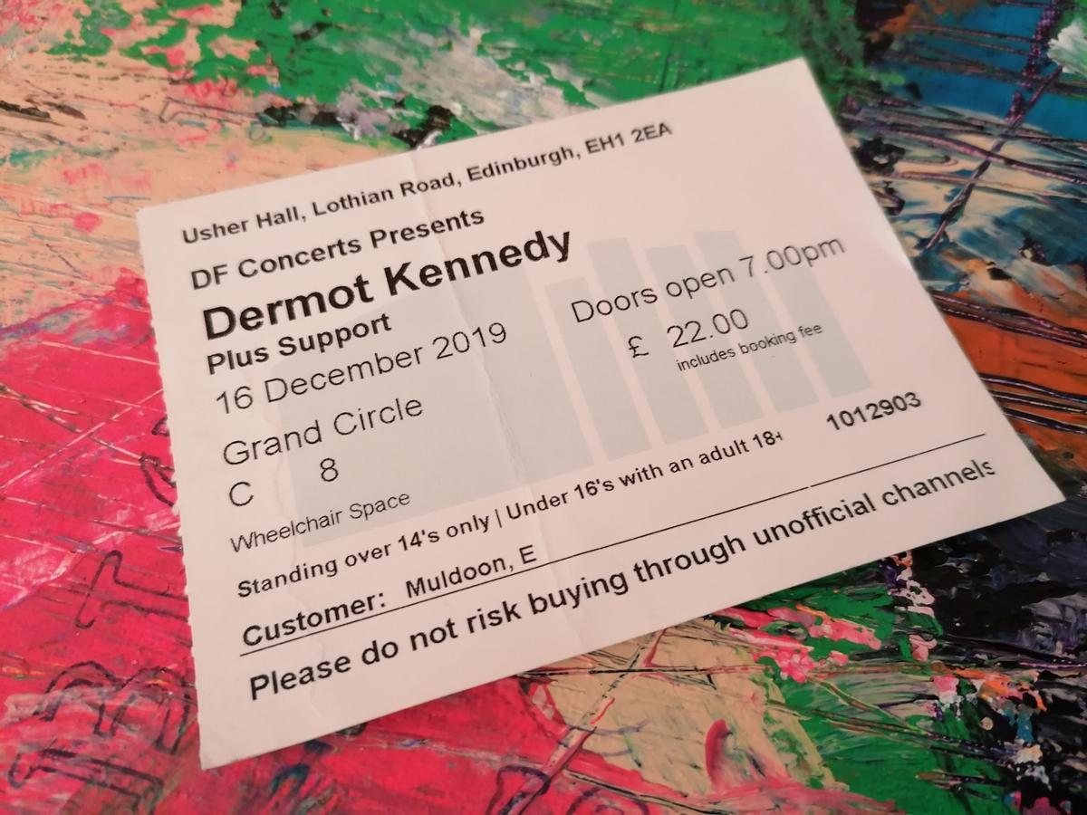 Dermot Kennedy gig ticket for The Usher Hall Edinburgh