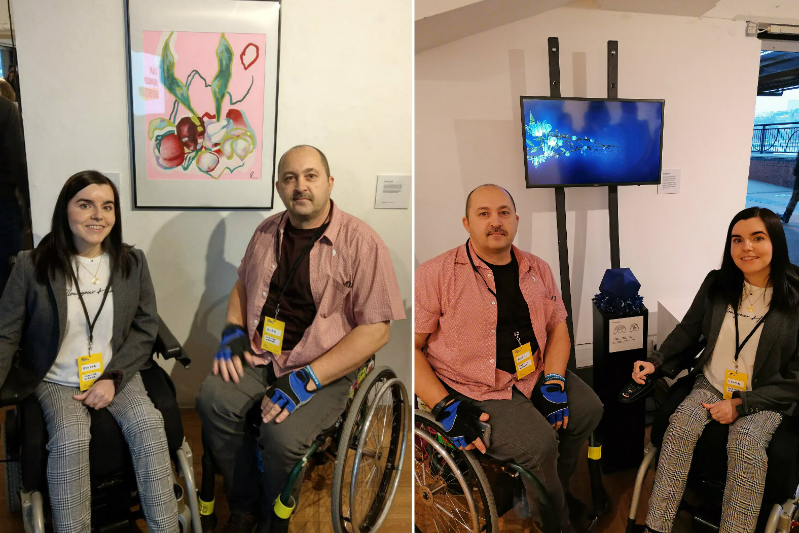 Photo collage: First photo is Emma and Alan, both wheelchair users sitting in front of Emma's artwork. Second photo is Emma and Alan again sitting in front of Alan's artwork.
