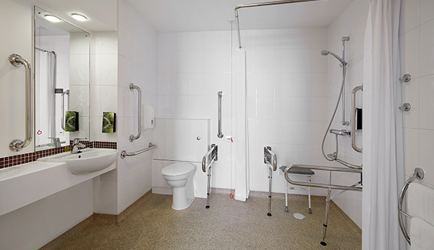 Accessible wet room at Premier Inn Blackfriars.
