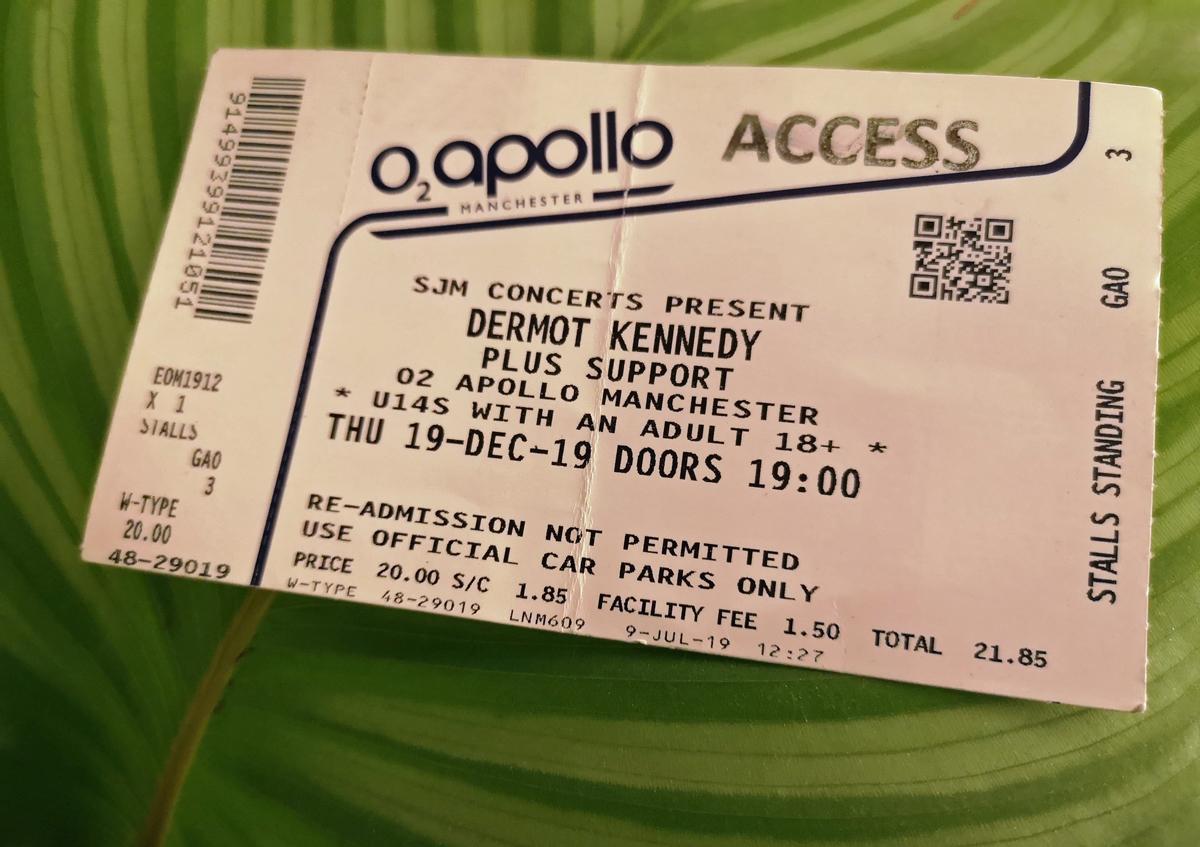 Gig ticket for Dermot Kennedy at O2 Apollo Manchester.