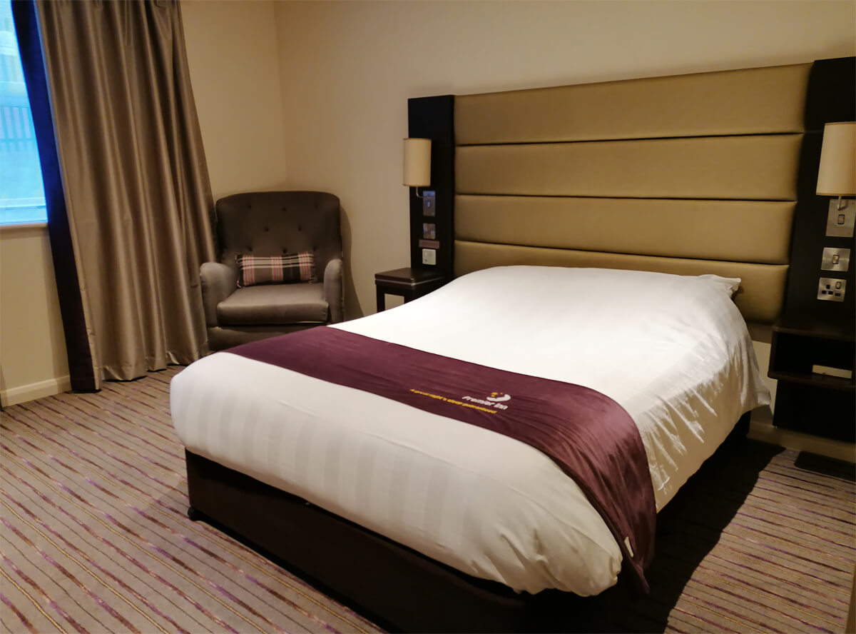 The double bed in the accessible room.