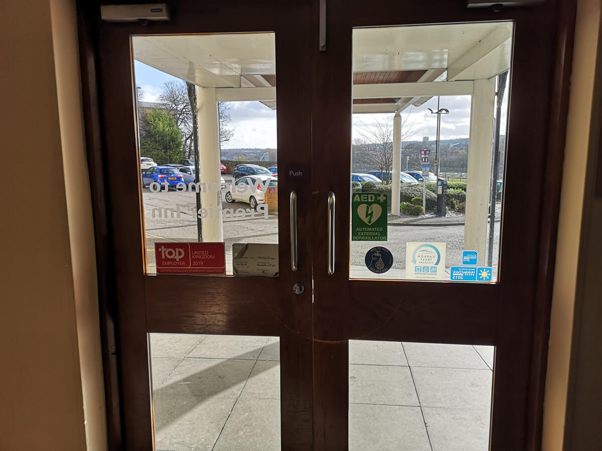 A close up of the main entrance doors.