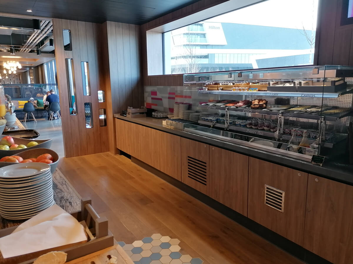 An overview of the breakfast area showing the selection of food on offer.