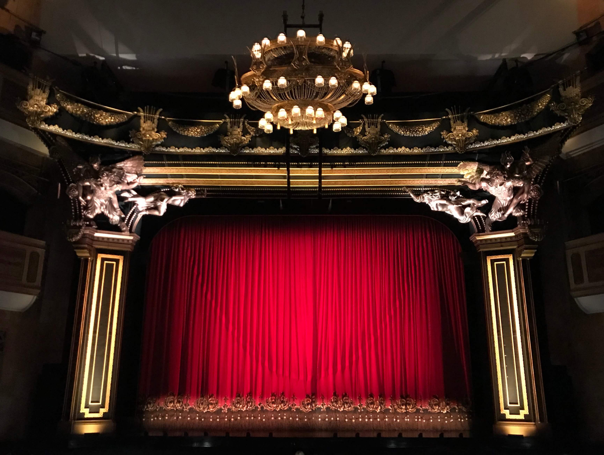 Red theatre curtains.
