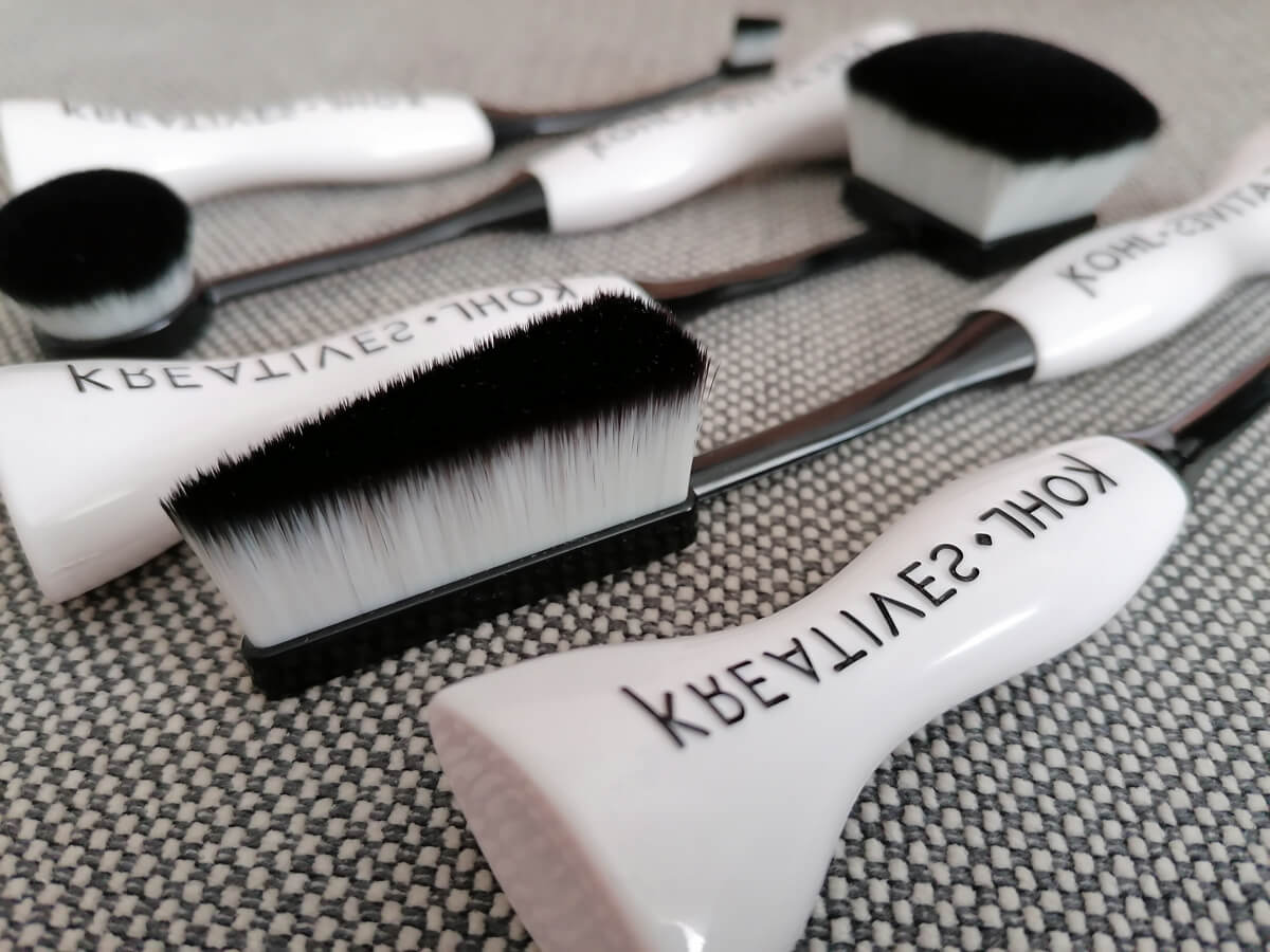 A close up of The Kohl Kreatives The Flex Collection makeup brushes