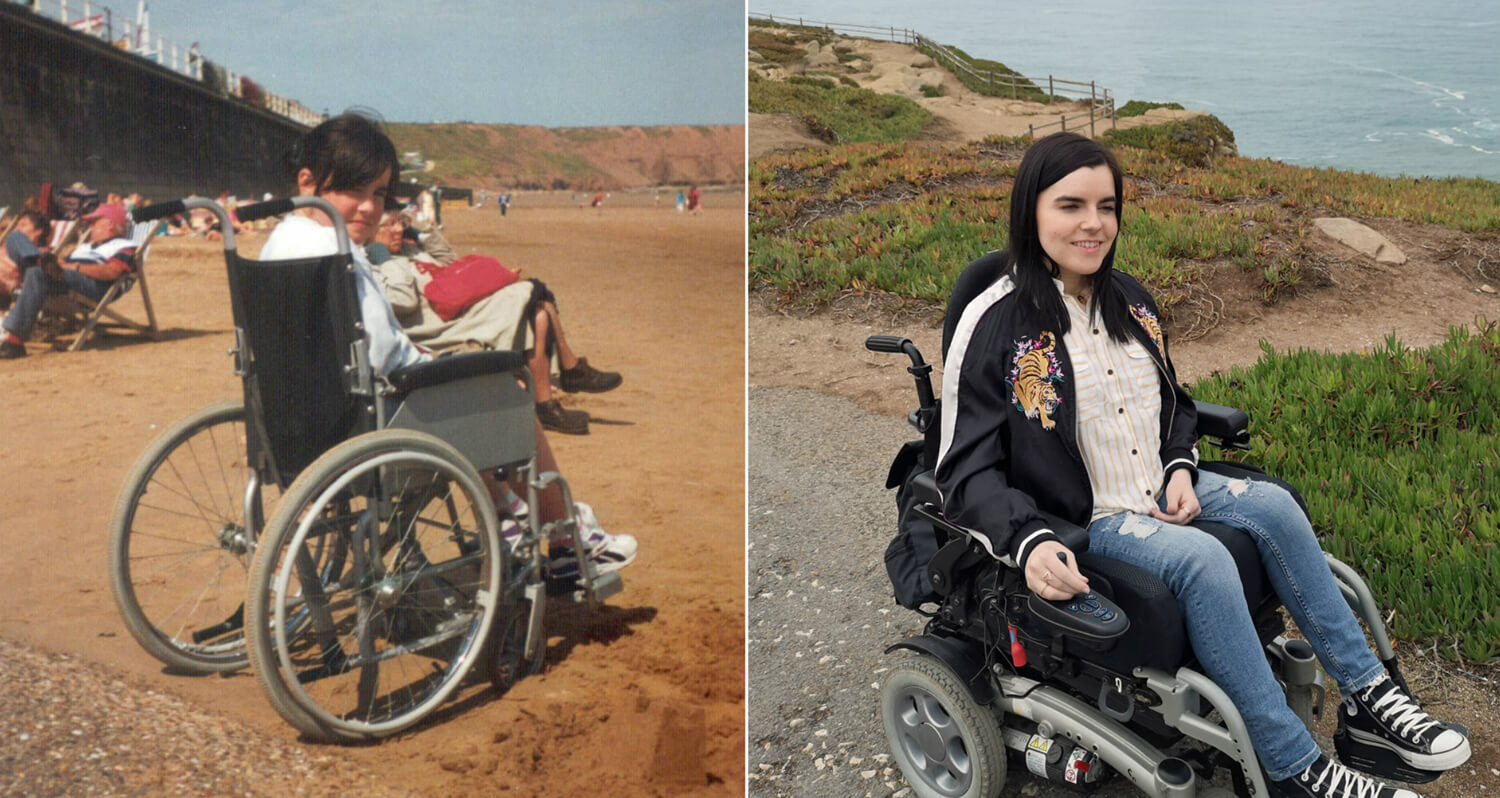 A photo collage. First photo on the left shows Emma around the age on 8 years old sitting in manual wheelchair on the beach. The second photo is of Emma in her powered wheelchair in her 30s. She is sitting with the ocean behind her in Portugal.