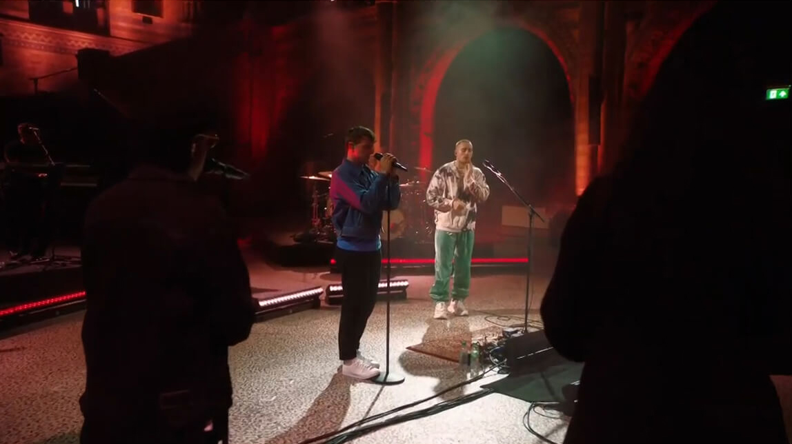 Paul Mescal performing with Dermot Kennedy at the virtual gig at Natural History Museum in London.