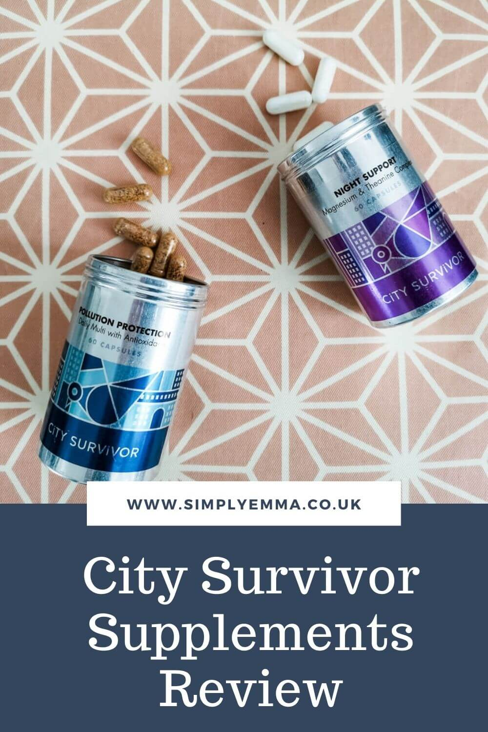 """Pinterest image showing the City Survivor supplements in metal tins laid on their sides with the lid off and capsules scattered. With text at the bottom of the image """"www.simplyemma.co.uk. City Survivor Supplements Review"""""""