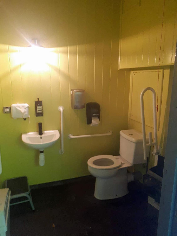 Inside the accessible toilet at Jupiter Artland Edinburgh.