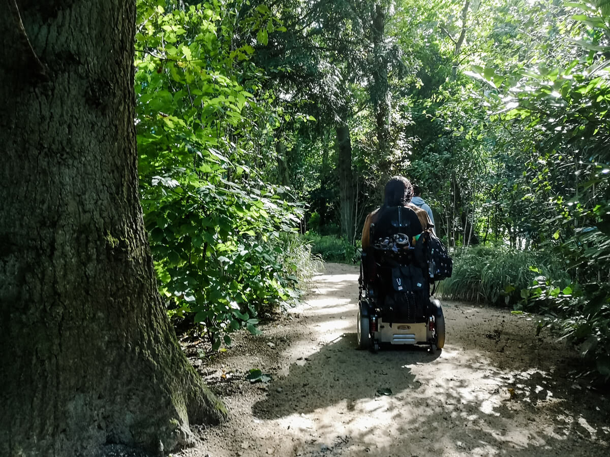 Emma driving her wheelchair with her back to the camera. She is amongst the woods.