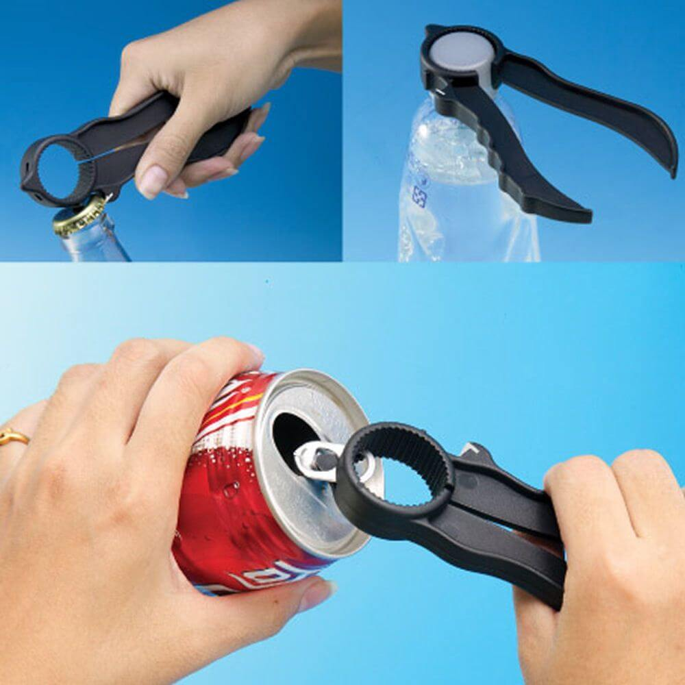 Three images showing how the daily living aid, Economical Multi Opener being used to open cans and bottles.