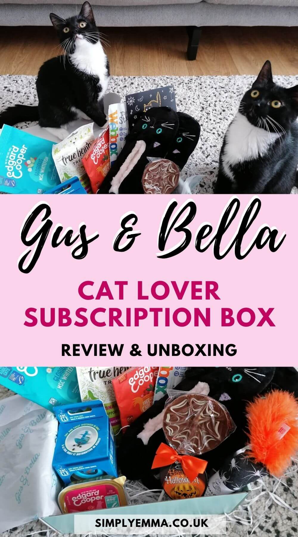 """Gus & Bella Cat Lover Subscription Box Review & Unboxing"" with an image of two black and white kittens sitting next to the Gus & Bella cat box. The second image shows all the items inside the box."