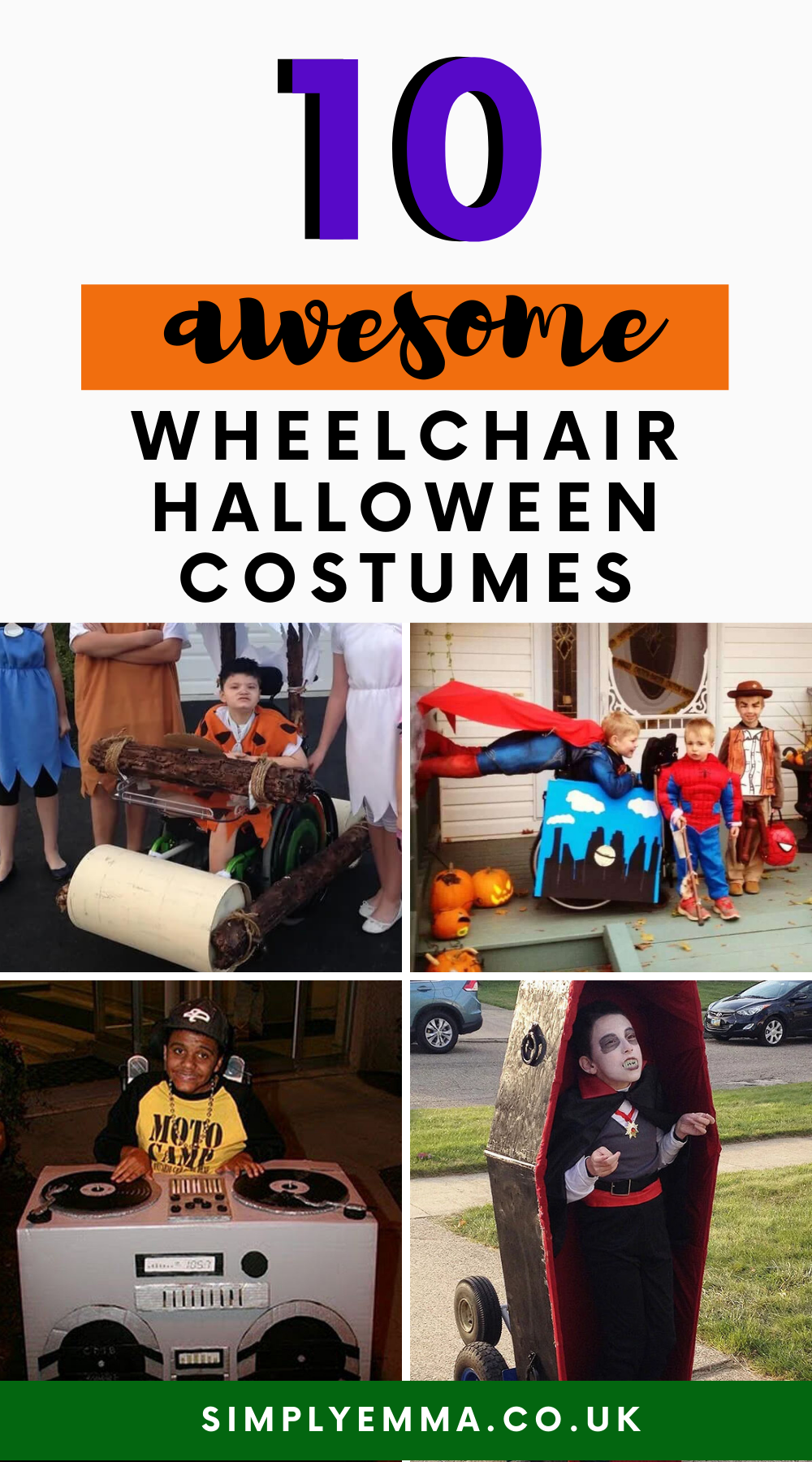 "A collection of photos of kids wearing fancy dress costumes with text ""10 wheelchair halloween costumes kids will love""."