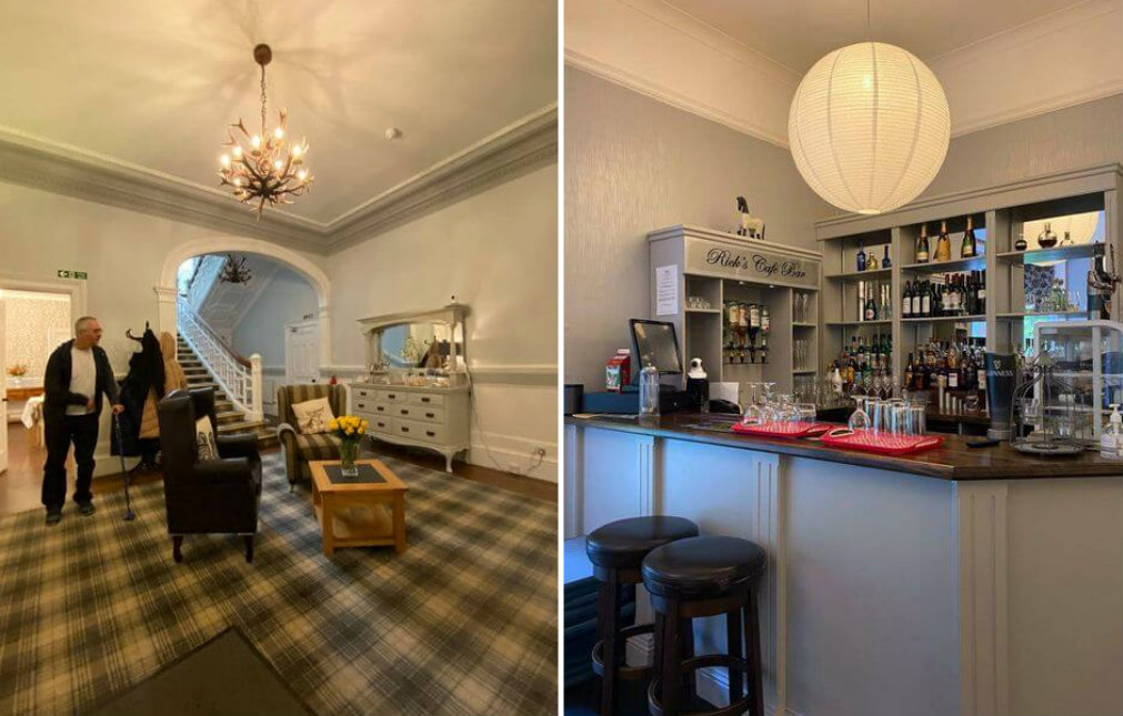 Photo collage: Photo on left shows Accessible room with bed, sofa and high ceilings in Balcary House Hotel. Photo on right shows A man with a walking stick standing in the lobby of the Balcary House Hotel. Photo on right shows The bar with a range of drinks in the Balcary House Hotel.