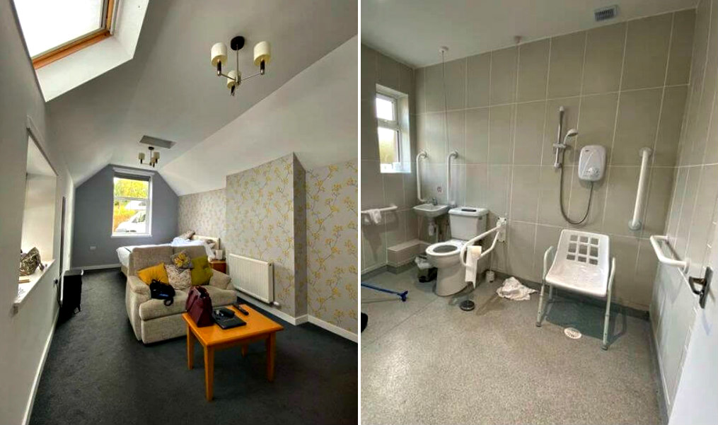 Photo collage: Photo on left shows Accessible room with bed, sofa and high ceilings in Balcary House Hotel. Photo on right shows Accessible wet room in Balcary House Hotel with roll-in shower and shower seat.