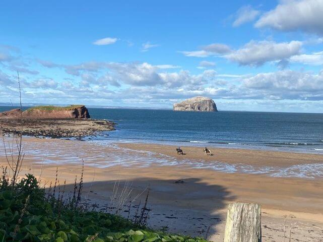 A view of Bass Rock overlooking the beach.