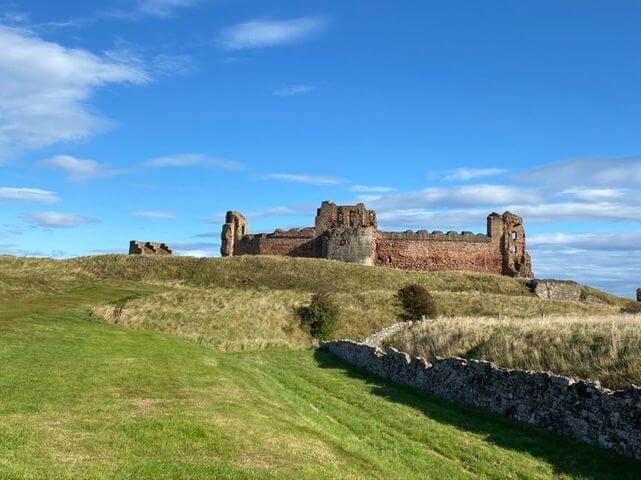 Tantallon Castle on a sunny day.