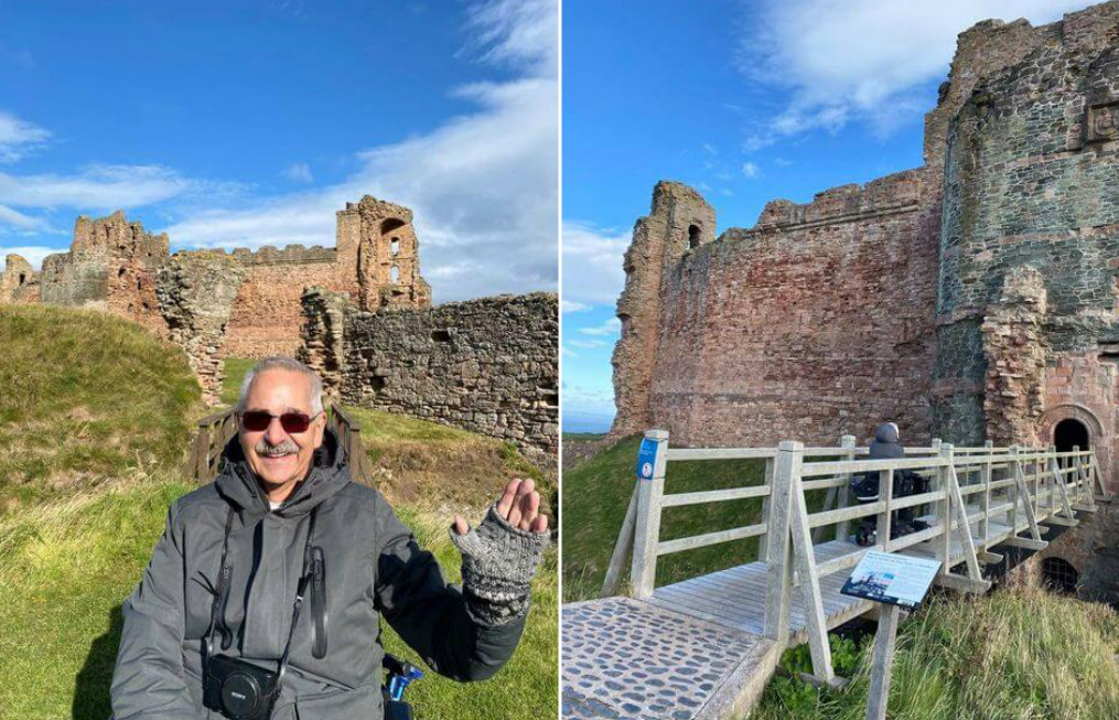 A man in a mobility scooter at Tantallon Castle