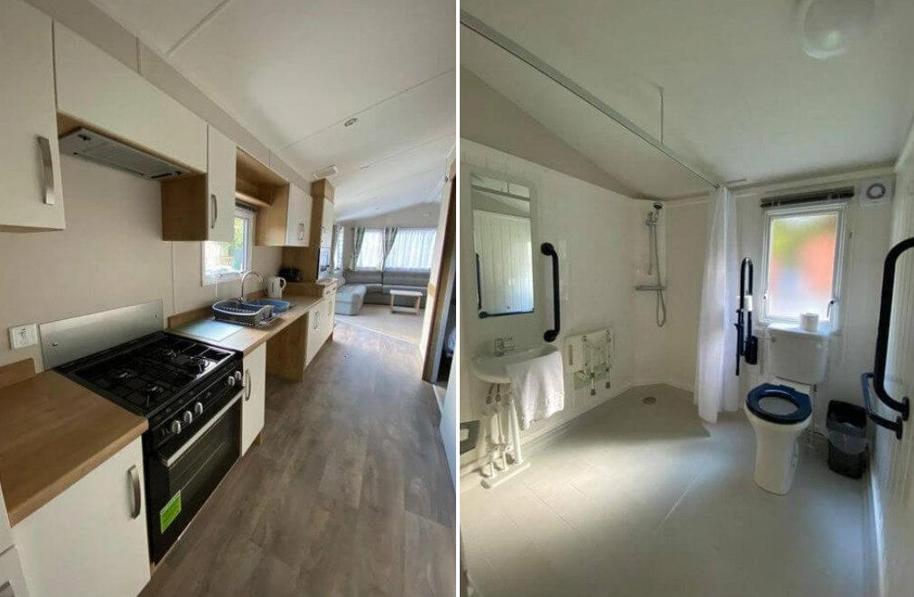 Photo collage: The first photo shows  adapted kitchen with lower worktops in the accessible caravan at Thurston Manor Holiday Park. Second photo shows wet room bathroom in the accessible caravan at Thurston Manor Holiday Park